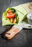 Wrap sandwich with green tortillas Royalty Free Stock Photos