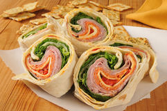 Wrap sandwich with Italian meats Stock Photos
