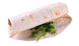 Wrap sandwich. Tortilla folded around a vegetable filling - cutout Royalty Free Stock Images