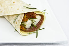 Wrap sandwich on white plate. Wrap sandwich with salami, cheese, sundried tomatoes, heart of palm and rosemary stock image