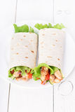 Wrap sandwiches with chicken and vegetables Stock Images