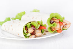 Wrap sandwiches with chicken and vegetables Stock Photography