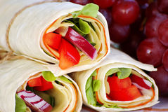 Wrap sandwiches with grapes Royalty Free Stock Images