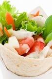 Wrap with Shrimp. And salad as closeup Stock Photography