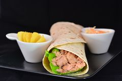 Wrap with tuna and vegetables royalty free stock photography