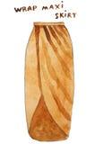 Wrap yellow maxi skirt. Hand drawn watercolor illustration. Royalty Free Stock Image