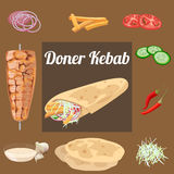 wraped的Doner kebab 库存例证