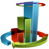 Wrapped Arrow Bar Chart Stock Photo