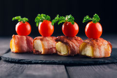 Wrapped Bacon Appetizers Royalty Free Stock Images