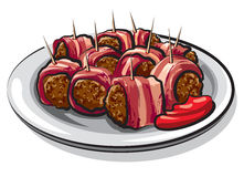 Wrapped bacon meatballs. Illustration of wrapped bacon meatballs on plate Stock Photography