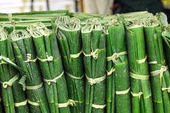 Wrapped banana leaves Royalty Free Stock Images