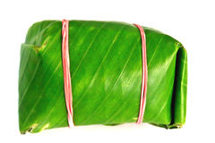 The Wrapped in banana leaves. In thai Stock Photos