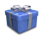 Wrapped blue gift 3D v3 Royalty Free Stock Photo