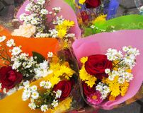 Wrapped bouquets of flowers Royalty Free Stock Photography