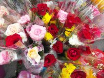 Wrapped bouquets of flowers Royalty Free Stock Image