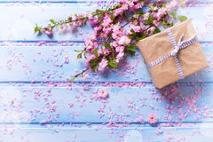 Wrapped box with present and sakura pink flowers Royalty Free Stock Photos