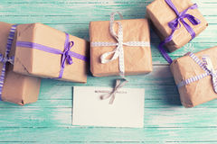 Wrapped boxes with presents  and empty tag Stock Image