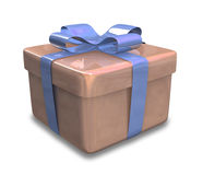 Wrapped brown blue gift 3D Royalty Free Stock Photos