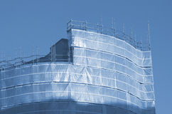 Wrapped building, scaffolding Manchester UK England Stock Photos
