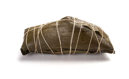 Wrapped Chinese ZongZi on white for Dragon Boat Festival Stock Photo