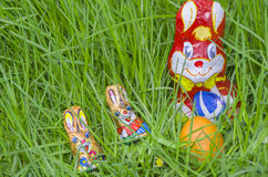 Wrapped Chocolate Bunnies with Easter Egg in the Grass Closeup Stock Photo