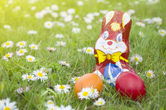 Wrapped Chocolate Bunny with Easter Eggs in the Grass Horizontal Stock Image