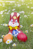 Wrapped Chocolate Bunny with Easter Eggs in the Grass Vertical Royalty Free Stock Images