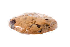 Wrapped Chocolate Chunk Cookie. Chocolate chunk and chip cookie, wrapped up in plastic, perfect of treats, after school snacks, bag or box lunches or anytime royalty free stock photo