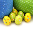 Wrapped chocolate Easter Eggs from top royalty free stock photo