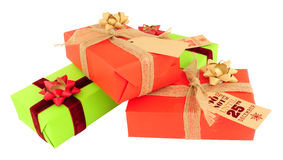 Wrapped Christmas Gift Parcels Stock Photos
