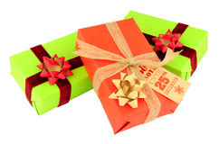 Wrapped Christmas Gift Parcels Stock Photo