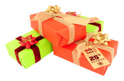 Wrapped Christmas Gift Parcels Stock Image