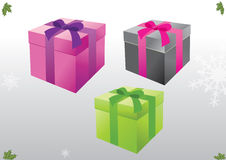 Wrapped Christmas gifts. An illustration of three colorfully wrapped Christmas gifts on a grayish background with snowflakes Stock Photo