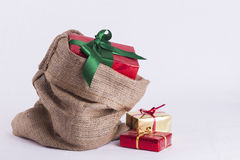 Wrapped Christmas present in Hessian sack Royalty Free Stock Image
