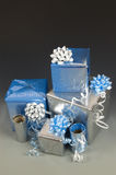 wrapped christmas presents with ribbons Royalty Free Stock Photos