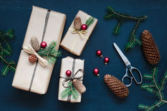 Wrapped Christmas presents on the table Royalty Free Stock Photography