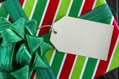 Wrapped Christmas Presents with Tag Stock Photography