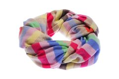 Wrapped in a circle a warm winter scarf. Isolated on white background stock photos