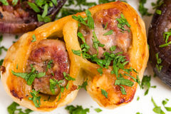 Wrapped dough sausages. Royalty Free Stock Image
