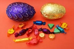 Wrapped Easter chocolate eggs and sweets Royalty Free Stock Image
