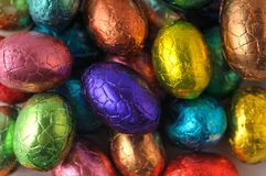 Wrapped easter-eggs. Many wrapped easter-eggs together, as background Stock Image