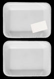 Wrapped empty plastic white food container with label. Wrapped empty plastic white food container with blank label Royalty Free Stock Photos