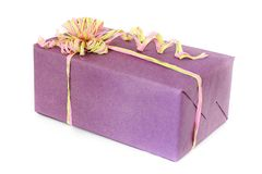 Wrapped gift with a beautiful bow royalty free stock photo