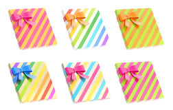 Wrapped gift box with a bow and ribbon Royalty Free Stock Photography