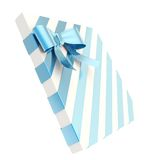 Wrapped gift box with a bow and ribbon. Wrapped white gift box with a blue metallic bow and ribbon isolated over white background, 3d render illustration Royalty Free Stock Images