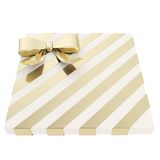Wrapped gift box with a bow and ribbon. Wrapped white gift box with a golden bow and ribbon isolated over white background, 3d render illustration Stock Image