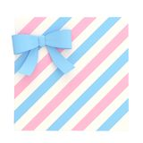 Wrapped gift box with a bow and ribbon. Wrapped white gift box with a pink and blue bow and ribbon isolated over white background, 3d render illustration Stock Photography