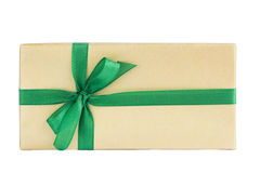 Wrapped gift box with green ribbon isolated over white Stock Images