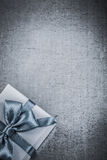 Wrapped gift box on metallic background celebrations concept Stock Photography