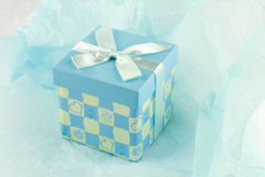 Wrapped gift box present. Blue gift box to give as present Royalty Free Stock Photos